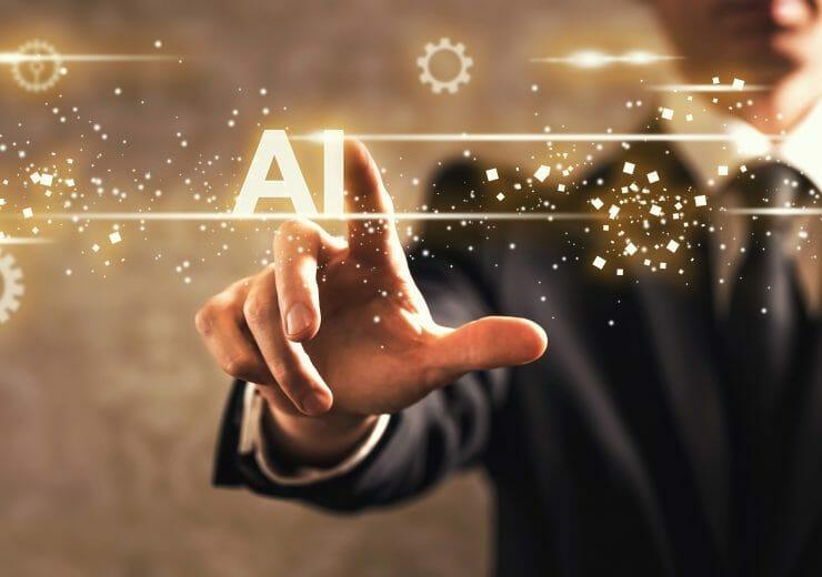AI text with businessman on dark vintage background